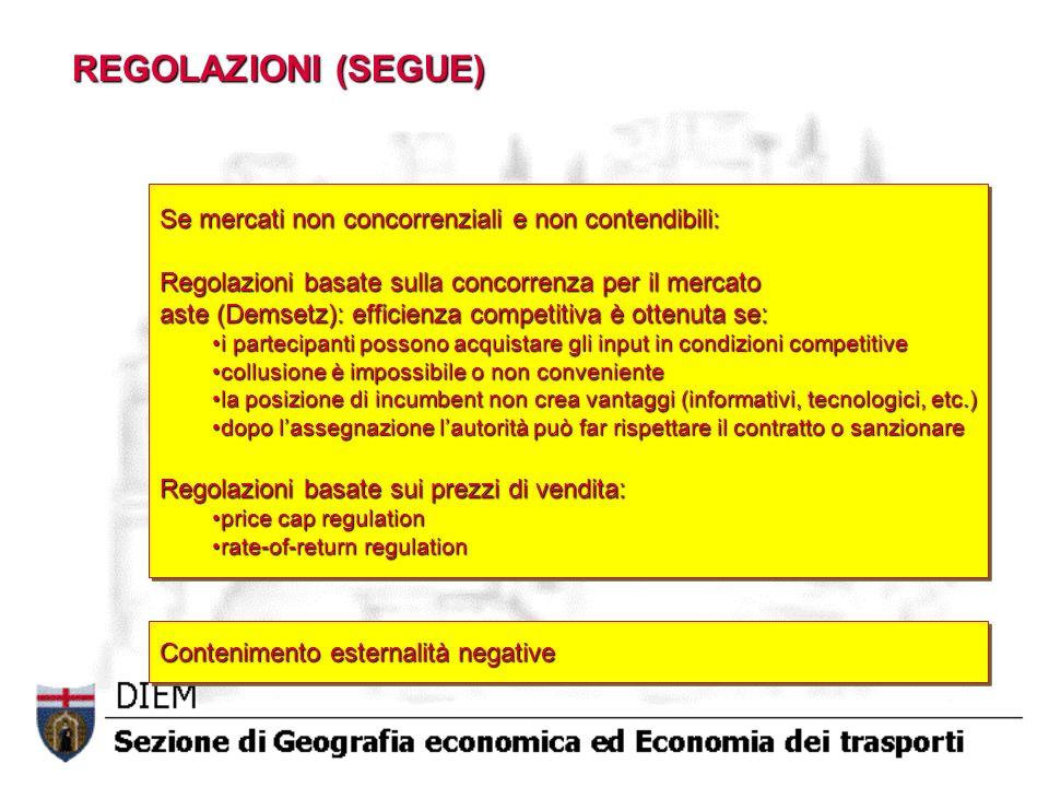 REGOLAZIONI (SEGUE) Se mercati non concorrenziali e non contendibili: