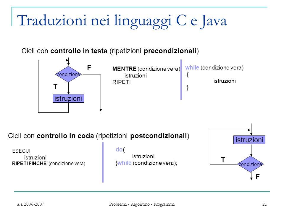 Traduzioni nei linguaggi C e Java
