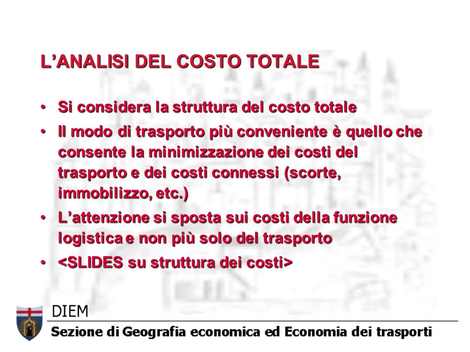 L'ANALISI DEL COSTO TOTALE