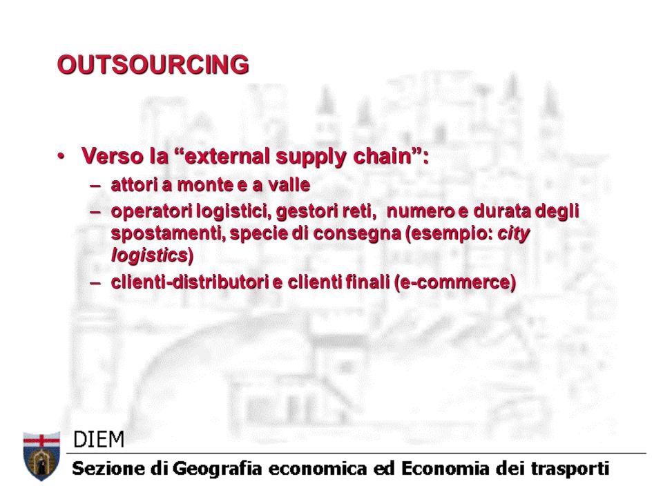 OUTSOURCING Verso la external supply chain : attori a monte e a valle