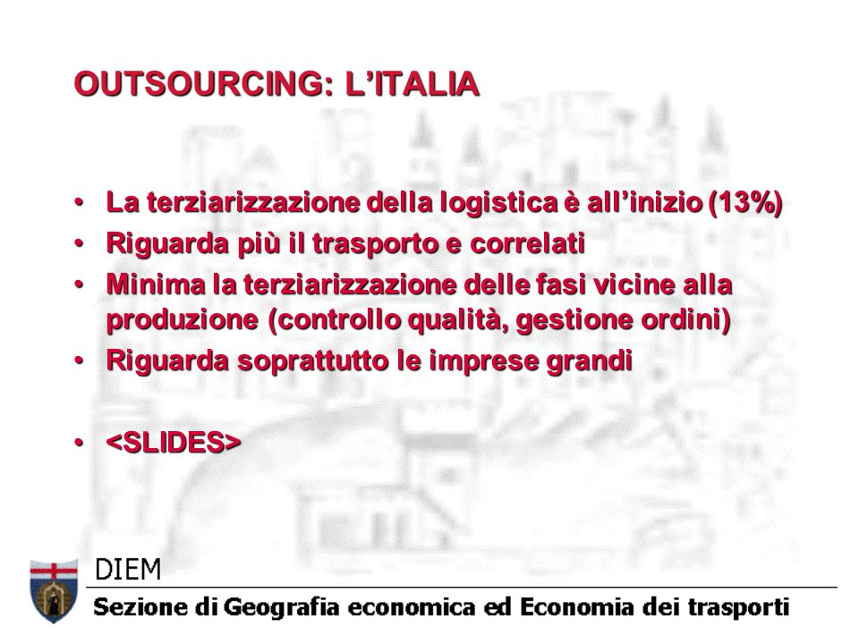 OUTSOURCING: L'ITALIA