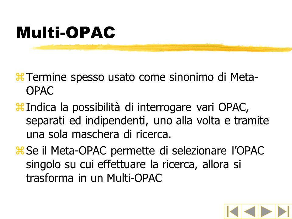 Multi-OPAC Termine spesso usato come sinonimo di Meta-OPAC
