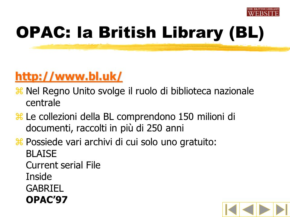 OPAC: la British Library (BL)