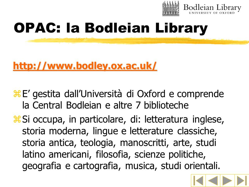 OPAC: la Bodleian Library