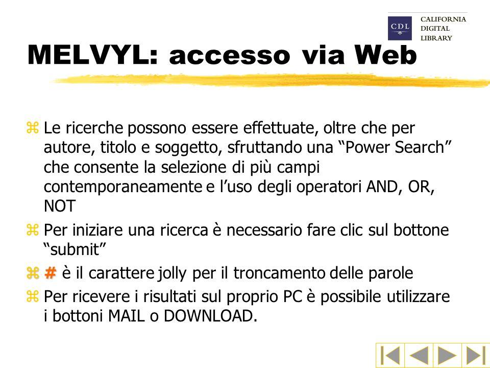 MELVYL: accesso via Web