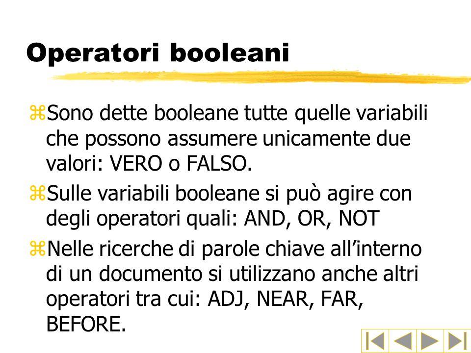 Operatori booleani Sono dette booleane tutte quelle variabili che possono assumere unicamente due valori: VERO o FALSO.