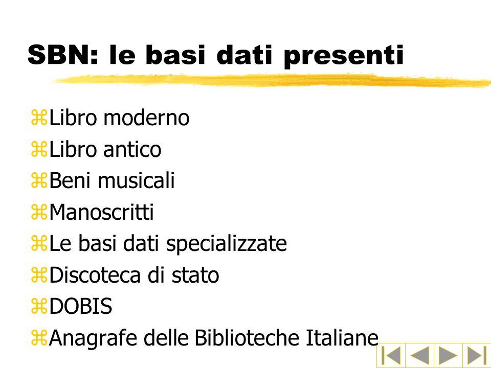 SBN: le basi dati presenti
