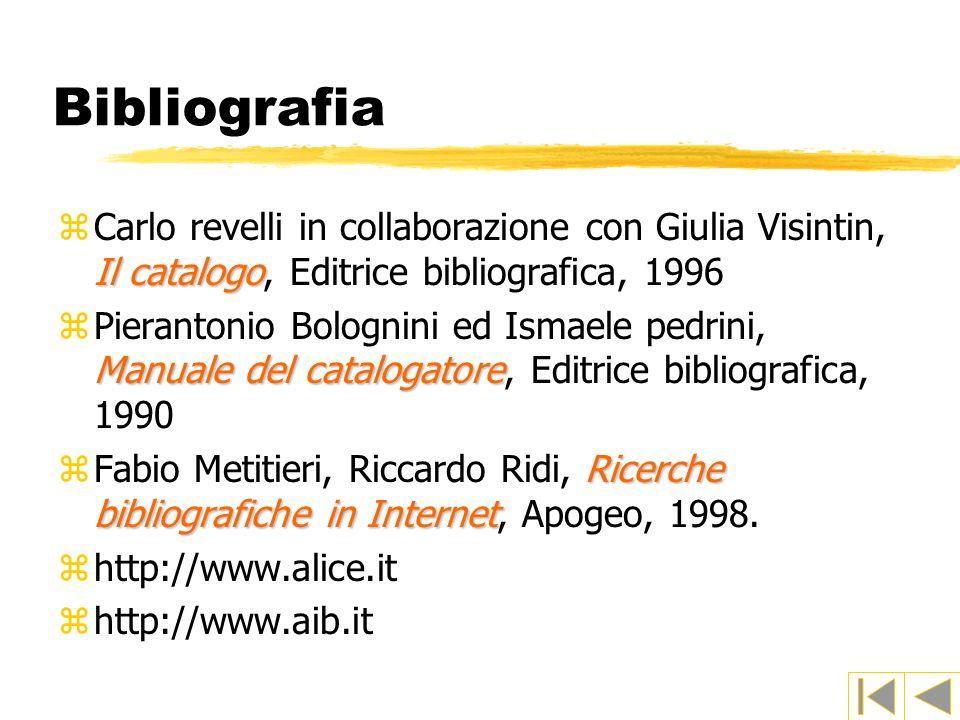 Bibliografia Carlo revelli in collaborazione con Giulia Visintin, Il catalogo, Editrice bibliografica, 1996.