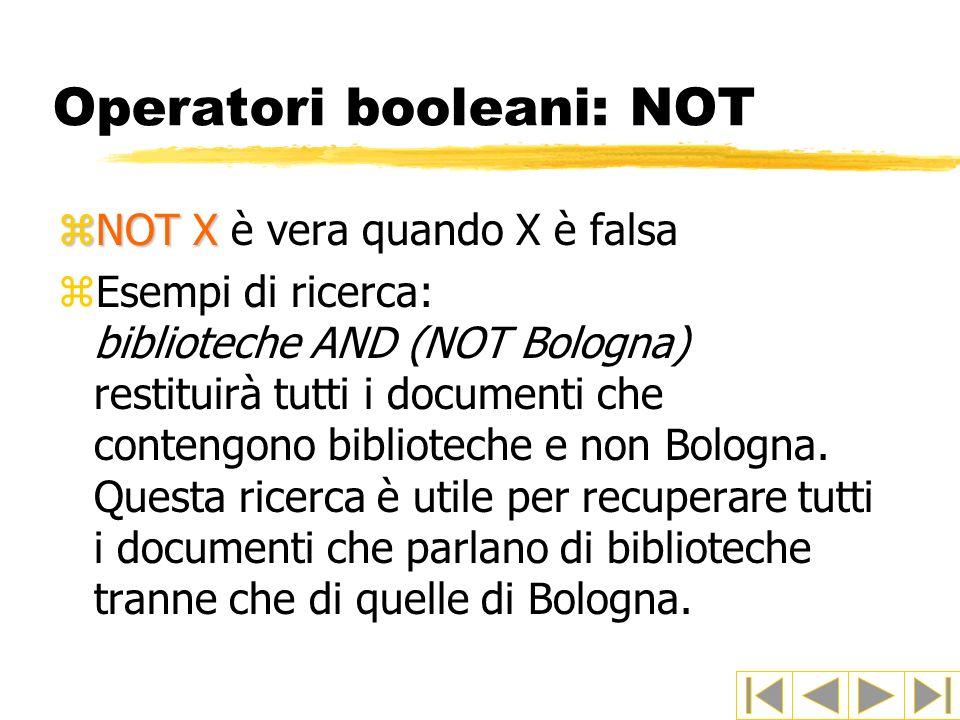Operatori booleani: NOT