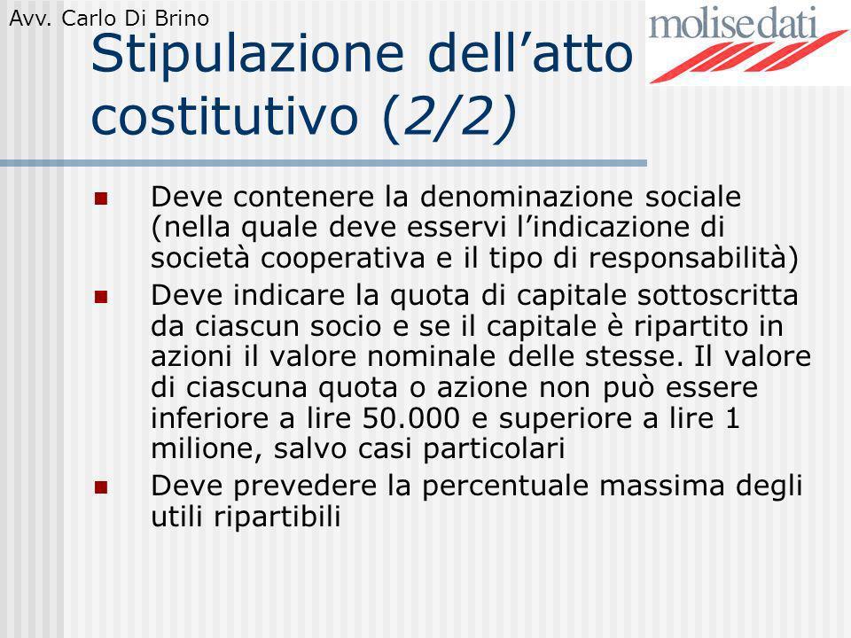 Stipulazione dell'atto costitutivo (2/2)