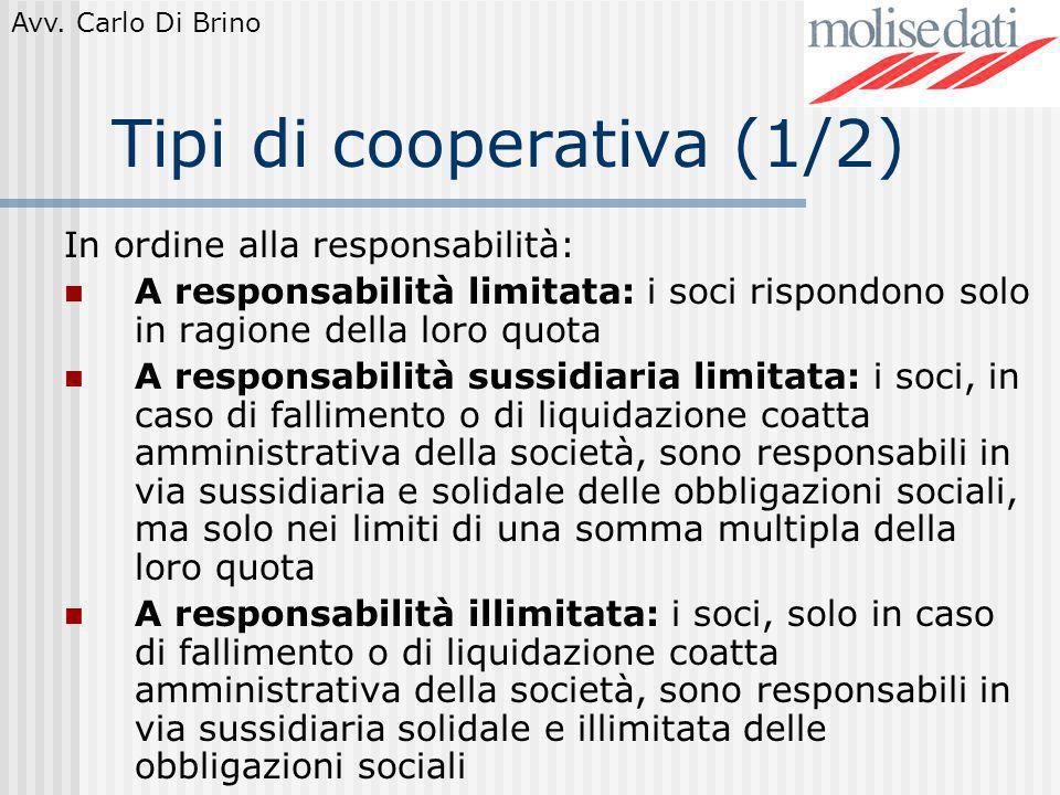 Tipi di cooperativa (1/2)