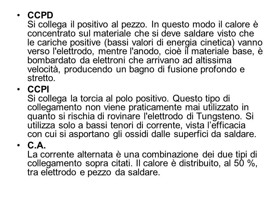 CCPD Si collega il positivo al pezzo