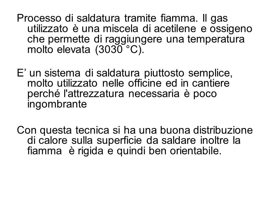 Processo di saldatura tramite fiamma