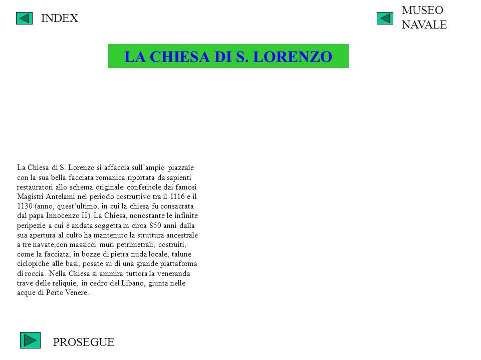 LA CHIESA DI S. LORENZO MUSEO NAVALE INDEX PROSEGUE