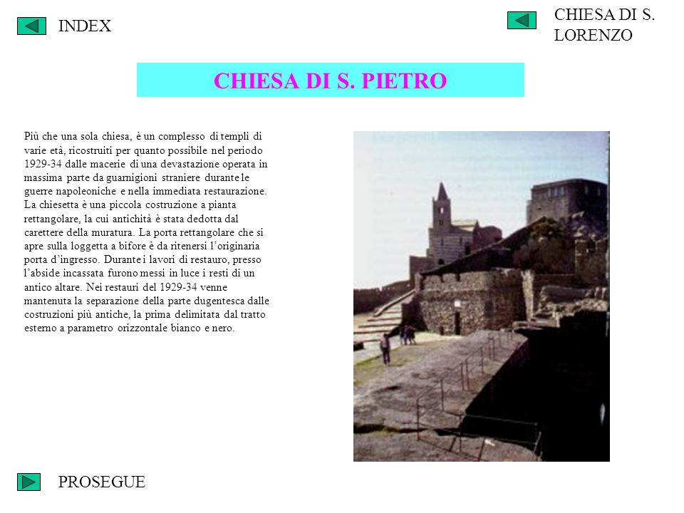 CHIESA DI S. PIETRO CHIESA DI S. LORENZO INDEX PROSEGUE