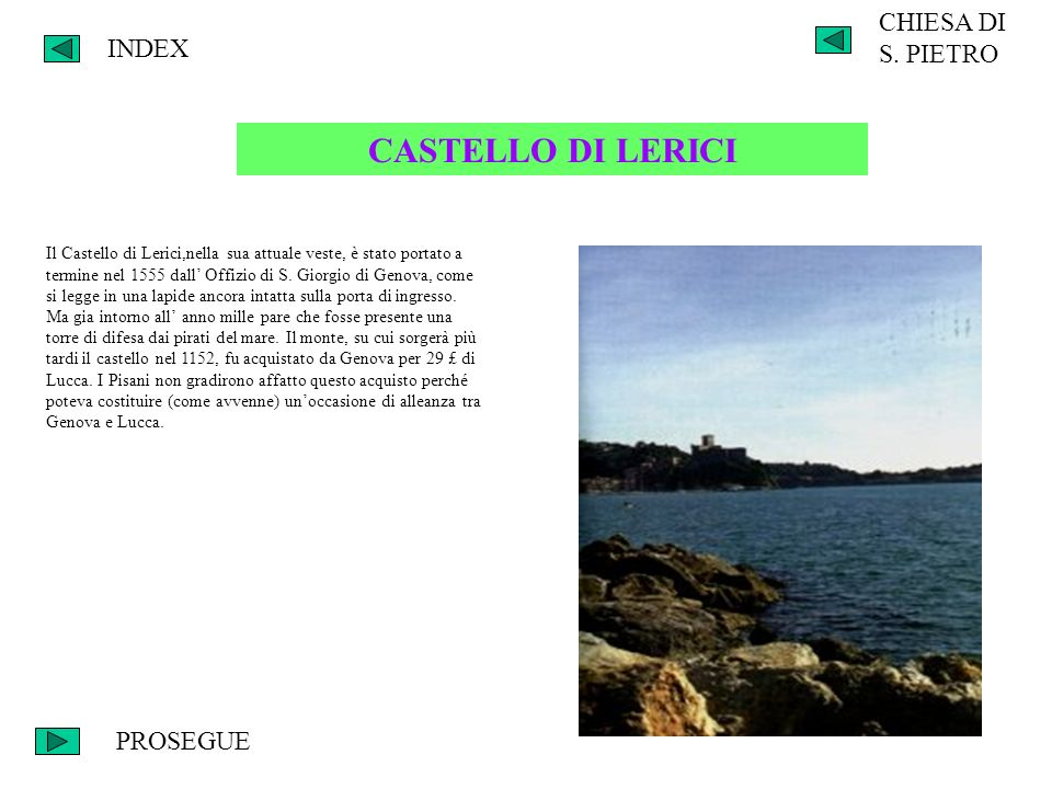CASTELLO DI LERICI CHIESA DI S. PIETRO INDEX PROSEGUE