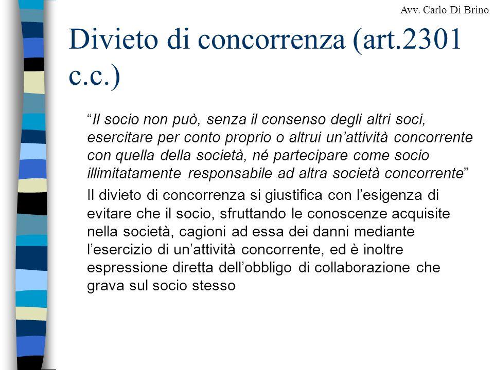 Divieto di concorrenza (art.2301 c.c.)