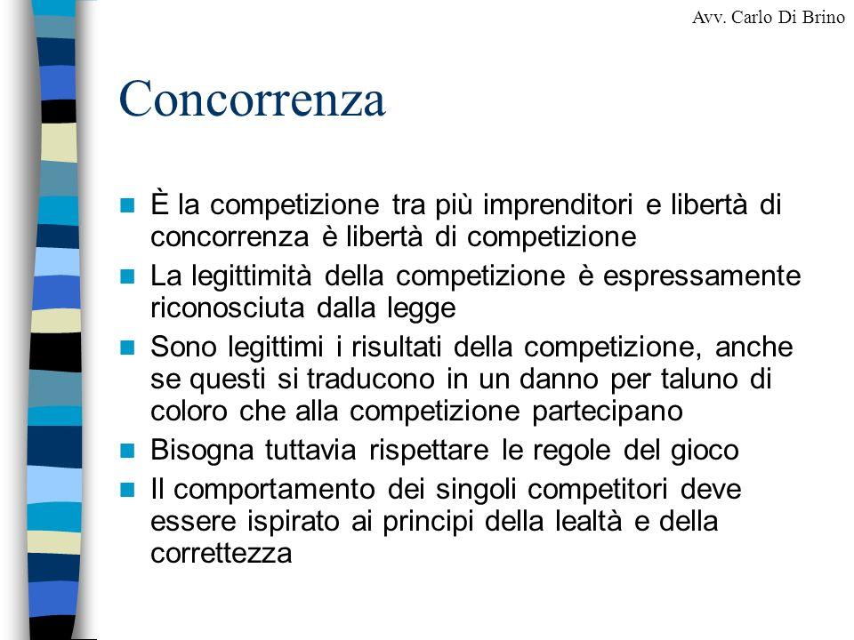 Concorrenza È la competizione tra più imprenditori e libertà di concorrenza è libertà di competizione.