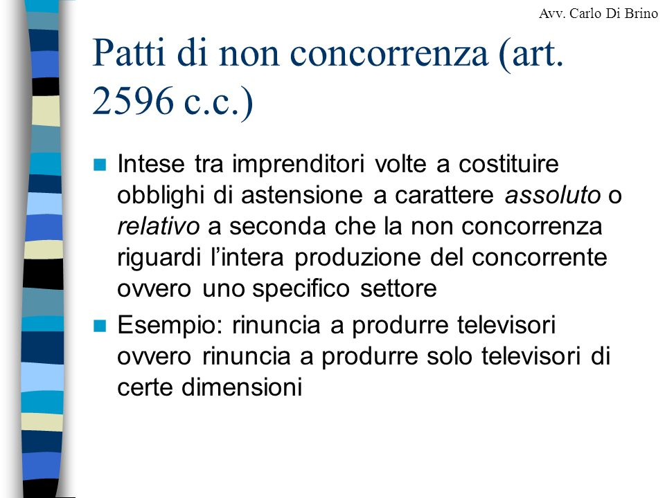 Patti di non concorrenza (art. 2596 c.c.)