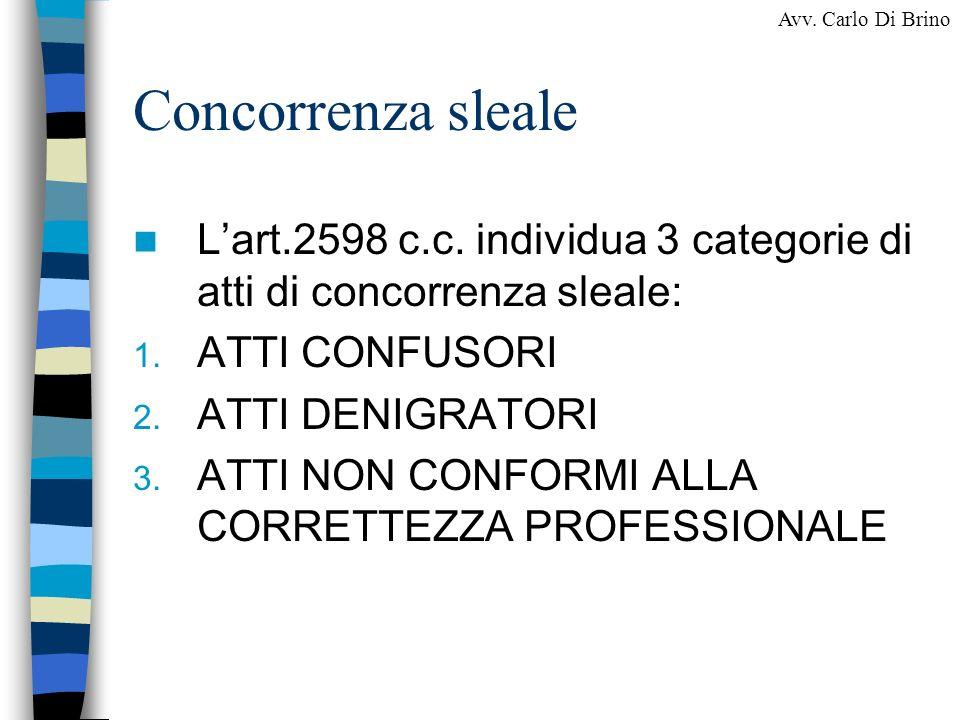 Concorrenza sleale L'art.2598 c.c. individua 3 categorie di atti di concorrenza sleale: ATTI CONFUSORI.