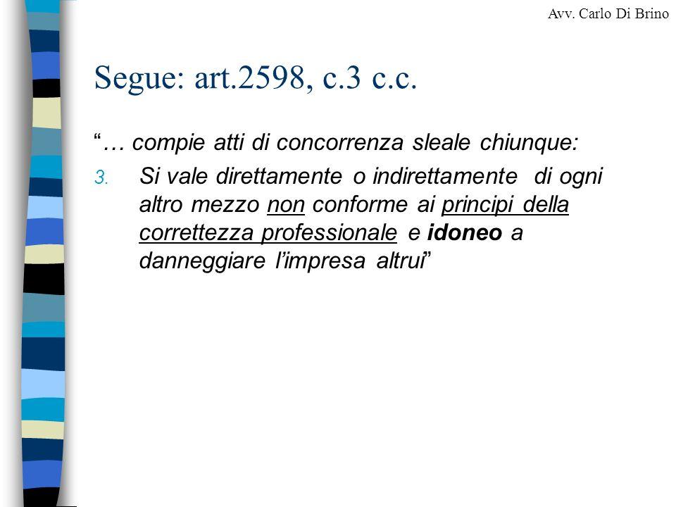 Segue: art.2598, c.3 c.c. … compie atti di concorrenza sleale chiunque: