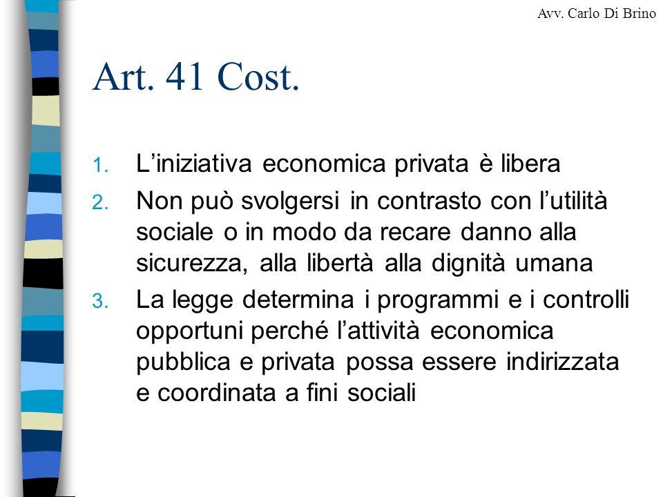 Art. 41 Cost. L'iniziativa economica privata è libera