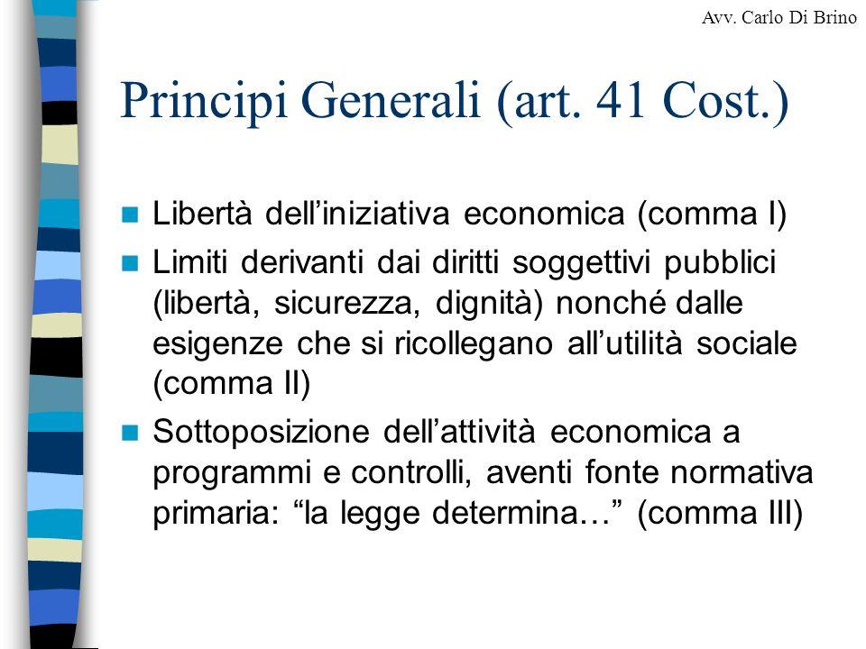 Principi Generali (art. 41 Cost.)