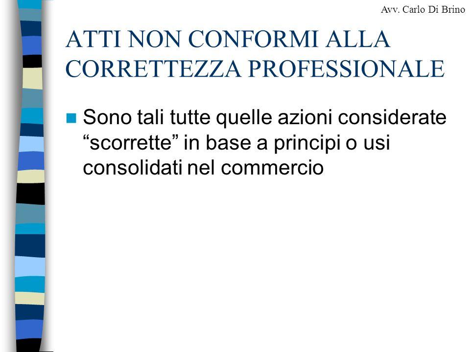 ATTI NON CONFORMI ALLA CORRETTEZZA PROFESSIONALE