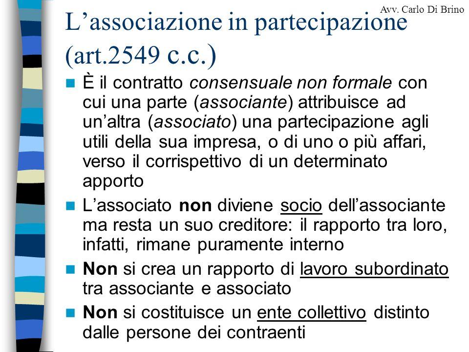 L'associazione in partecipazione (art.2549 c.c.)