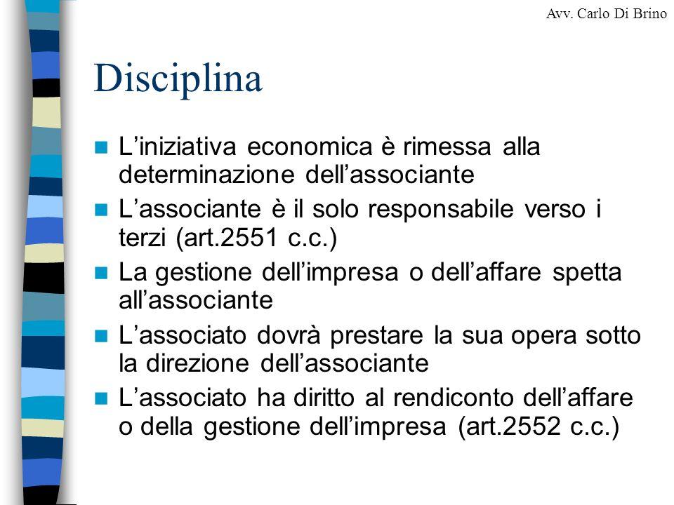DisciplinaL'iniziativa economica è rimessa alla determinazione dell'associante. L'associante è il solo responsabile verso i terzi (art.2551 c.c.)