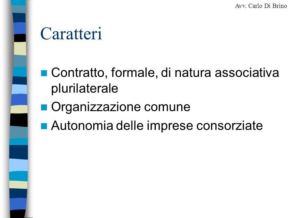 Caratteri Contratto, formale, di natura associativa plurilaterale