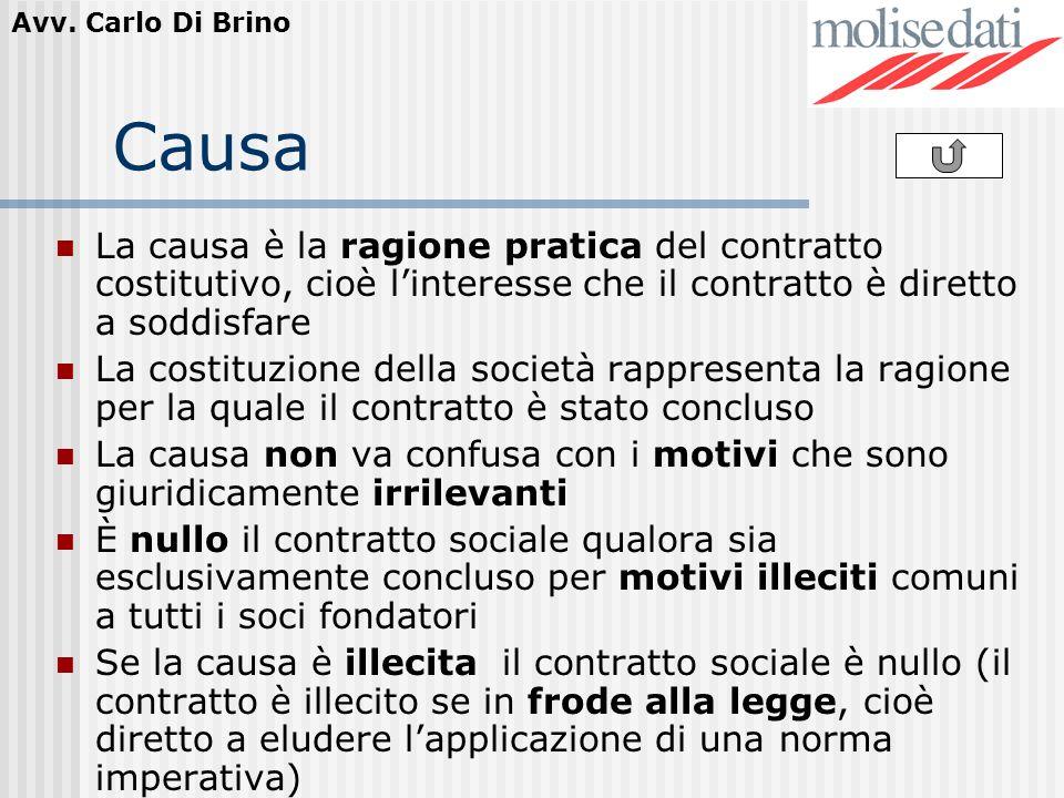CausaLa causa è la ragione pratica del contratto costitutivo, cioè l'interesse che il contratto è diretto a soddisfare.