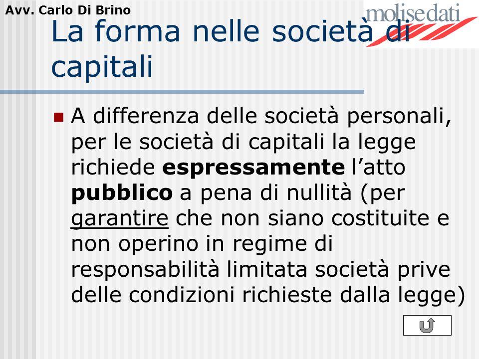 La forma nelle società di capitali