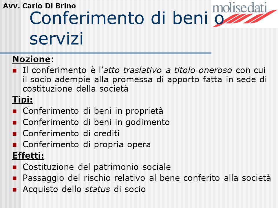 Conferimento di beni o servizi