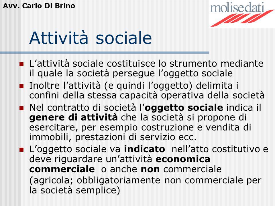 Attività sociale L'attività sociale costituisce lo strumento mediante il quale la società persegue l'oggetto sociale.