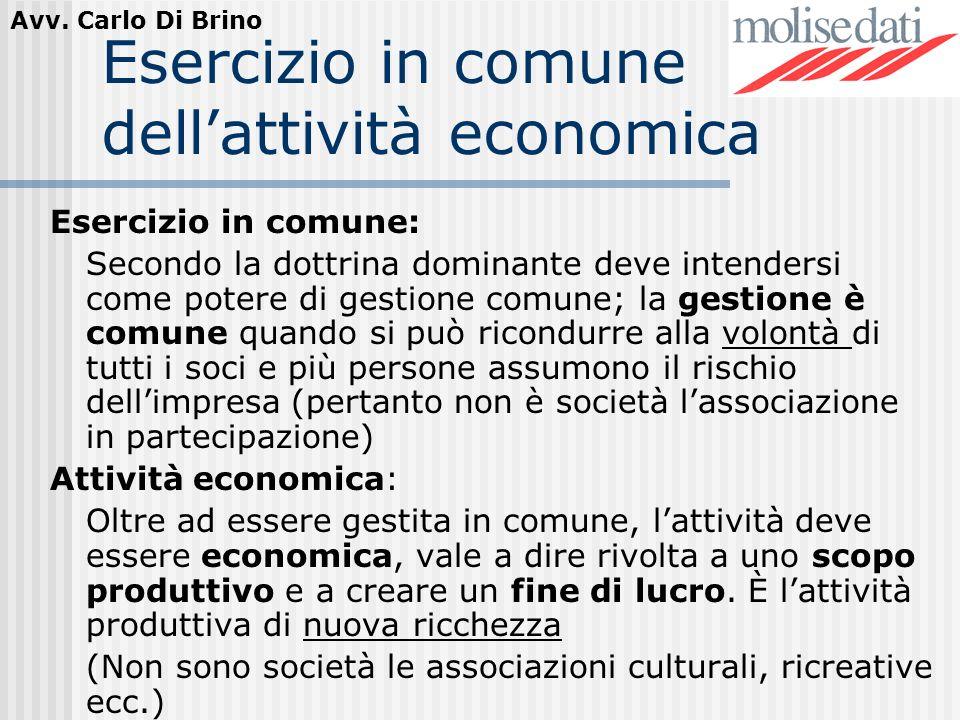 Esercizio in comune dell'attività economica
