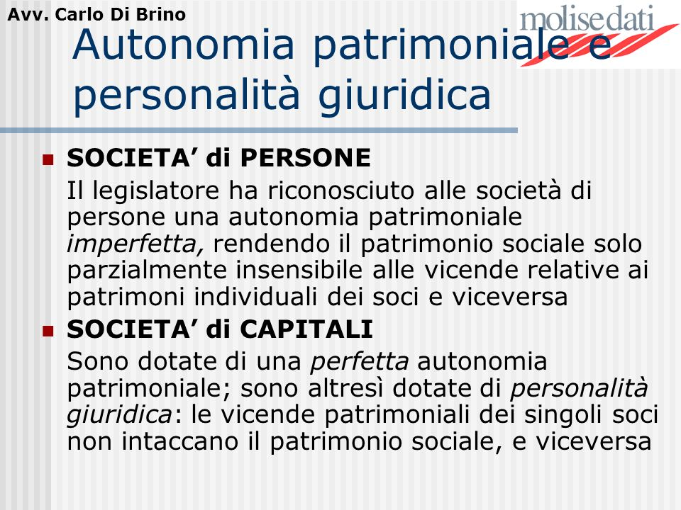 Autonomia patrimoniale e personalità giuridica
