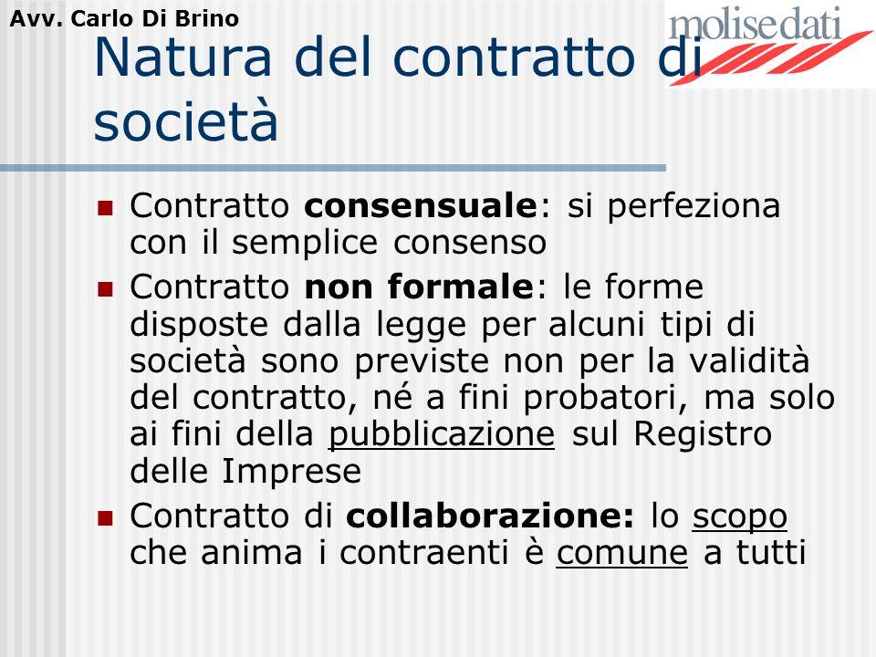 Natura del contratto di società