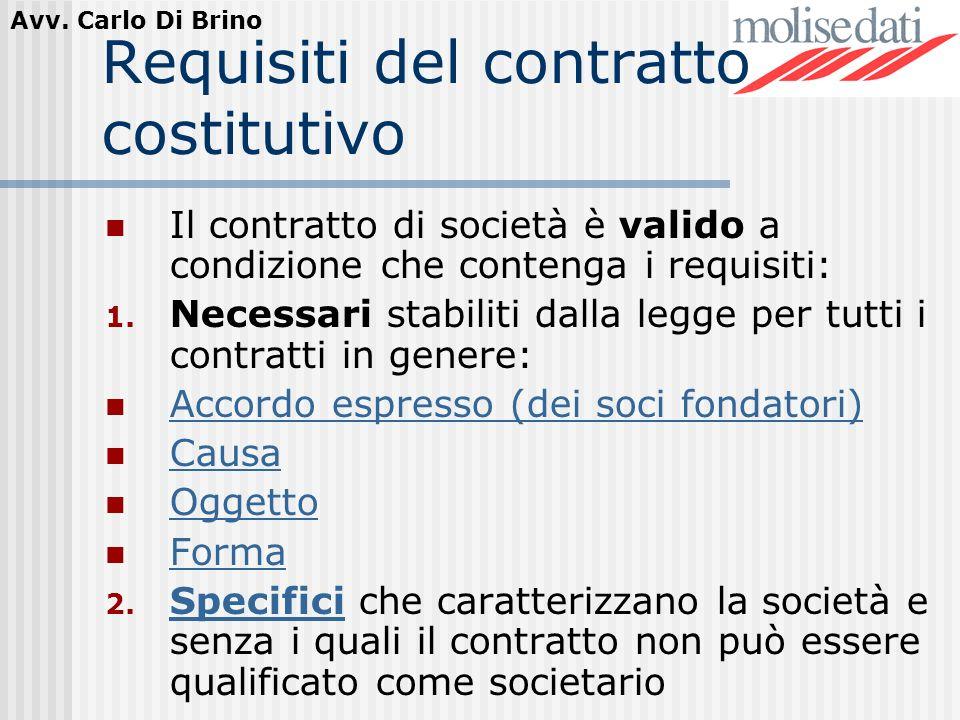 Requisiti del contratto costitutivo