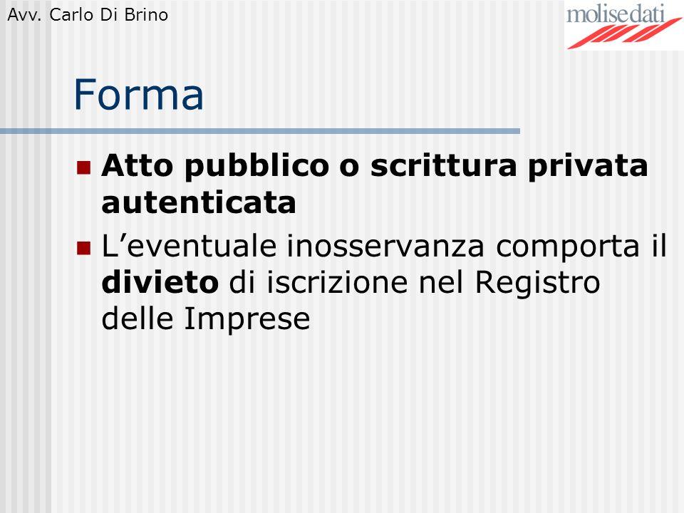 Forma Atto pubblico o scrittura privata autenticata