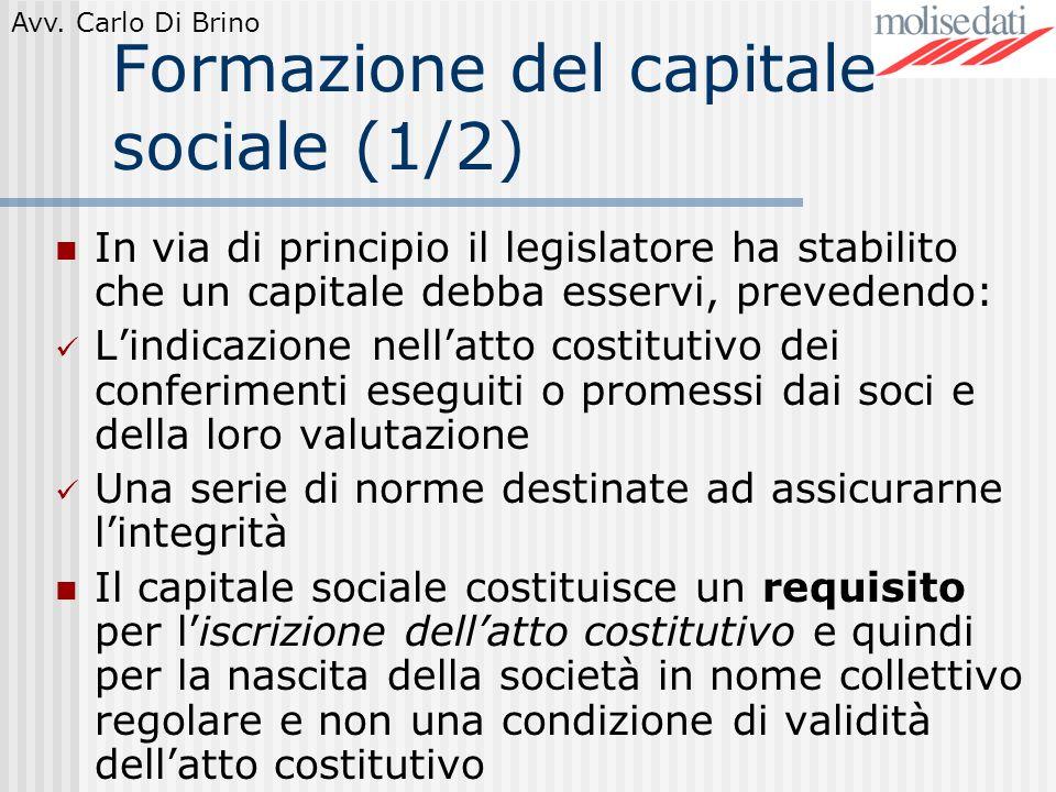 Formazione del capitale sociale (1/2)