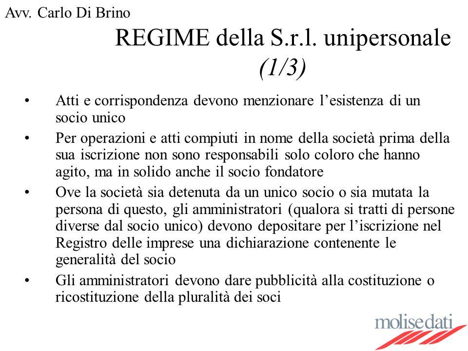 REGIME della S.r.l. unipersonale (1/3)