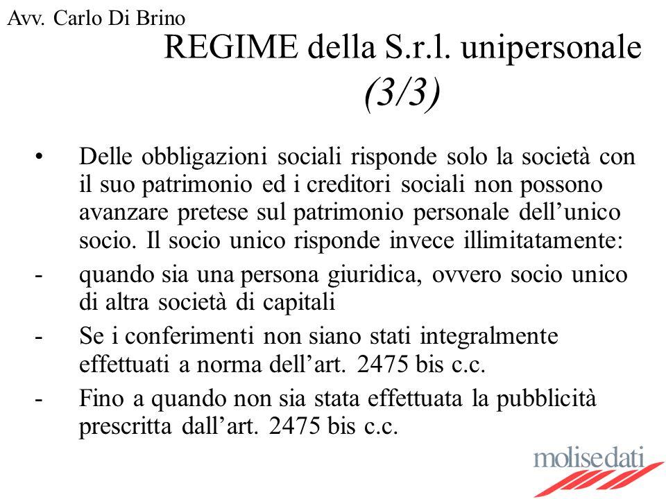 REGIME della S.r.l. unipersonale (3/3)