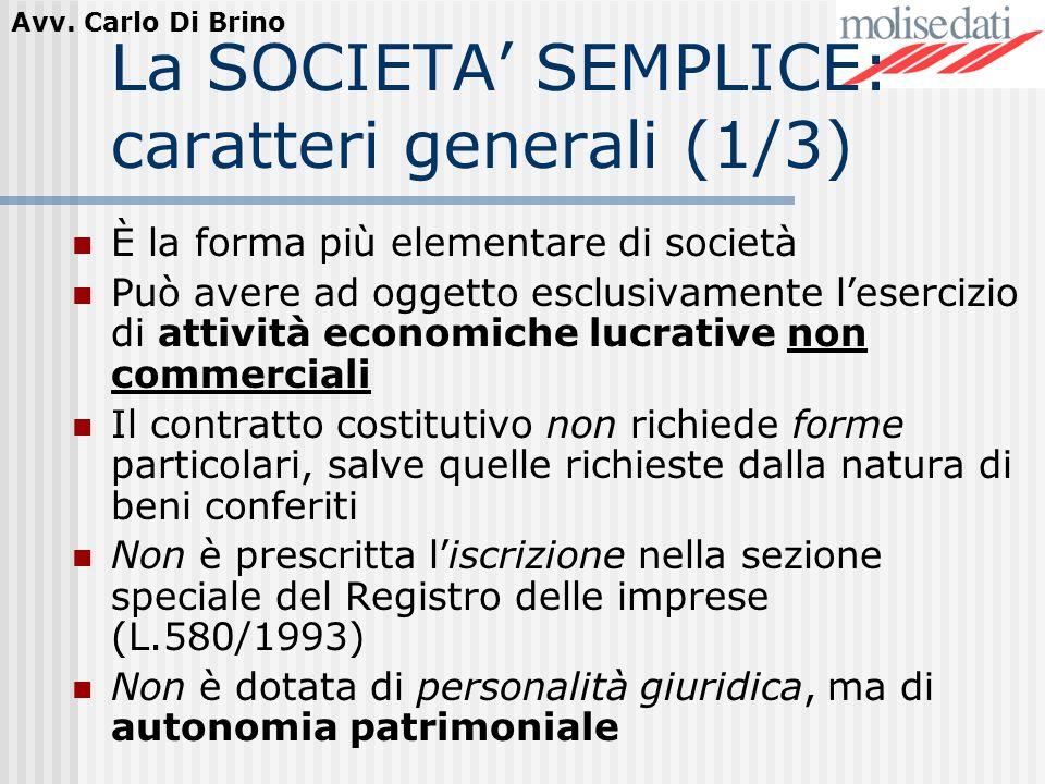 La SOCIETA' SEMPLICE: caratteri generali (1/3)