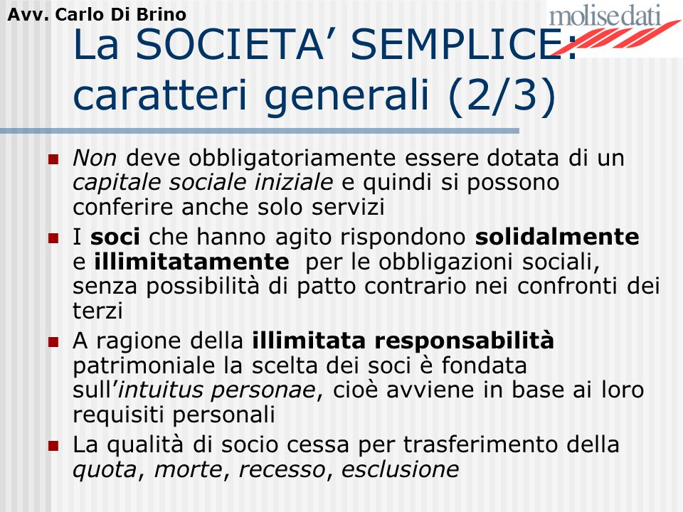 La SOCIETA' SEMPLICE: caratteri generali (2/3)