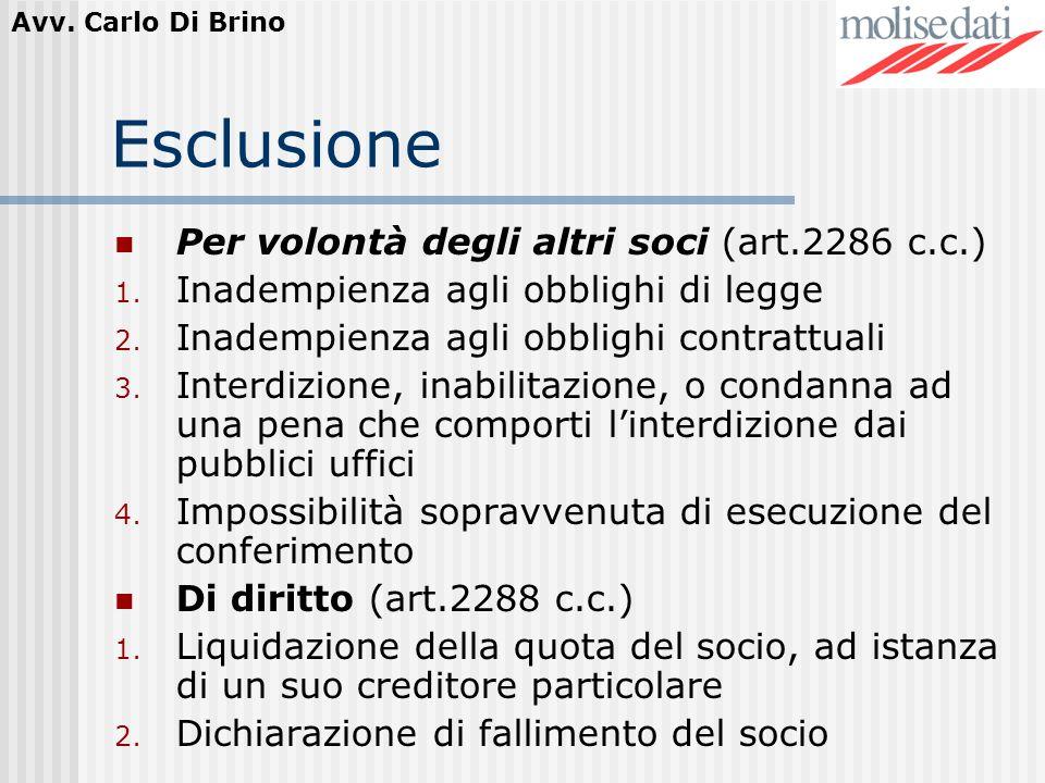 Esclusione Per volontà degli altri soci (art.2286 c.c.)