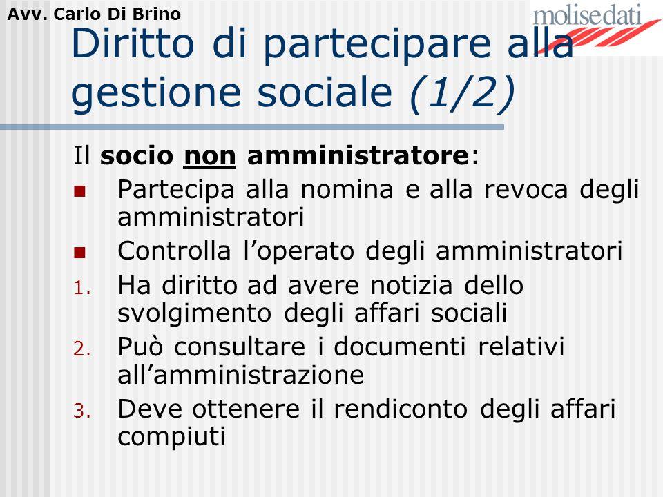 Diritto di partecipare alla gestione sociale (1/2)