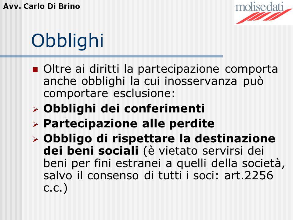 Obblighi Oltre ai diritti la partecipazione comporta anche obblighi la cui inosservanza può comportare esclusione: