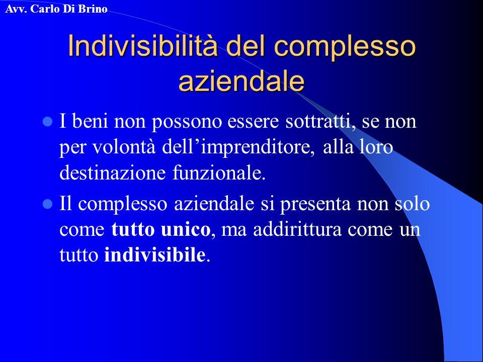 Indivisibilità del complesso aziendale