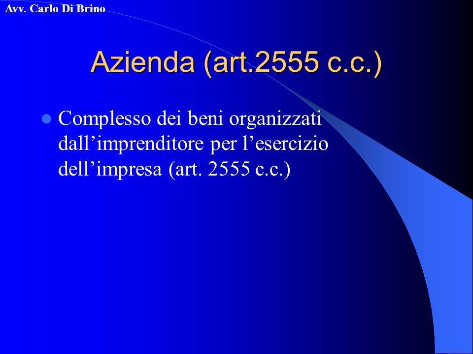Azienda (art.2555 c.c.) Complesso dei beni organizzati dall'imprenditore per l'esercizio dell'impresa (art.